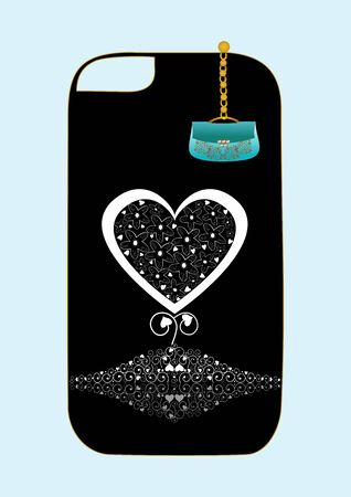 Vector design cover for phone with small handbag