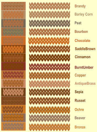 Samples of knitted yarns and warm palette of colors with names Illustration vector