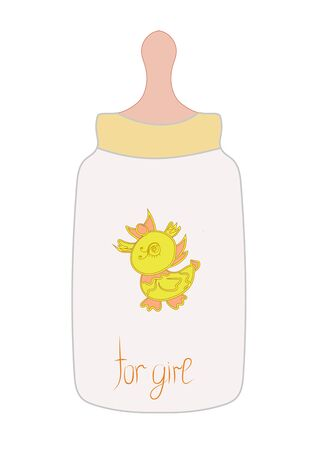Baby bottle with a pacifier for girl on white background isolated