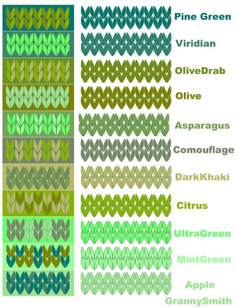 Samples of knitted yarns in green palette of colors with names. Ilustracja