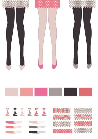 A set of knitting patterns and colors for clothes. Beautiful legs in black pantyhose and knitted skirts are a vector illustration.