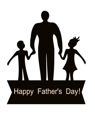 Happy Father's Day dad and kids abstract vector illustration