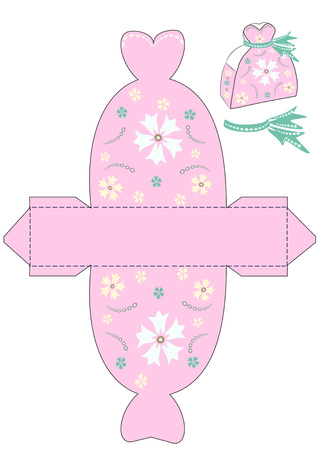 Gift box template for a princess girl. For wedding, baby shower, birthday with flower and beads, bow. Pink background. White and yellow flowers. A bow is turquoise.