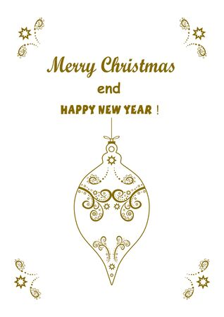 Beautiful winter background with congratulations  Merry Christmas and  New Year. Design postcard, banner. Convenient for printing