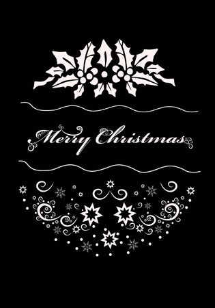 Beautiful winter background with congratulations  Merry Christmas . Design postcard, banner. Convenient for printing.White pattern on a black background. Zdjęcie Seryjne - 133684758