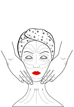 Beautiful young woman gets a facial massage. Banner Graphic illustration. Visual aid with lines on the face for self-massage. Spa. Advertising. Painting brush