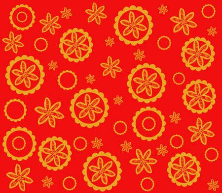 Background with abstract repeating pattern gold and red. Can be used for printing on fabric, interior decoration, postcards, business cards, notebook covers Standard-Bild