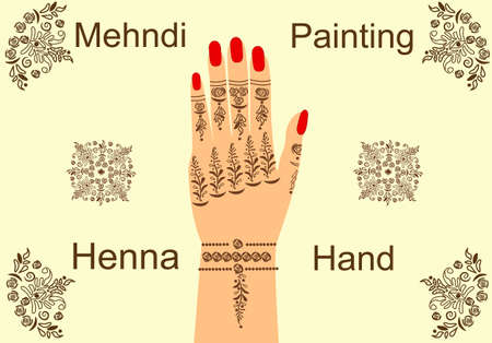 Banner painted henna mehendi on a female hand. Decorative lines for drawing henna people body design. Banner with the text. Ideal for advertising your business.