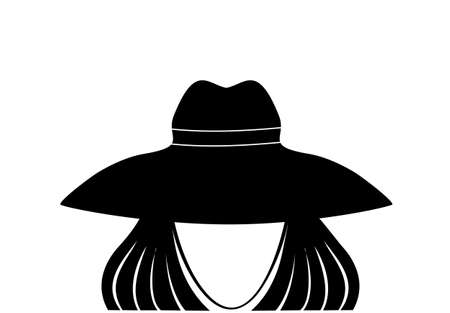 Avatar faceless woman in a hat. Graphic illustration black and white