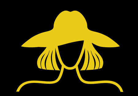 Faceless woman in a hat. Avatar graphic illustration yellow on a black background Standard-Bild