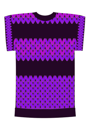 Black T-shirt with ornament knitting elements purple and pink. Template for design and modeling of clothes. Wardrobe. Graphic work. Illustration