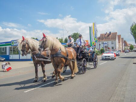 Kirchheimbolanden,Rheinland-Pfalz,Germany-06 23 2019: Holiday parade on streets of German town during Beer Festival week