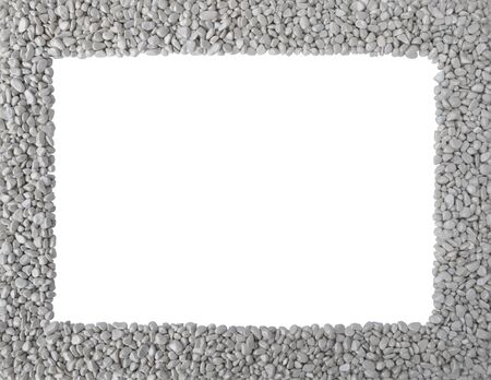 Grey stones,smooth pebbles,piles of rocks as frame or borders around rectangular empty copy space.Stone texture isolated on white background,top view.Close up natural design template,leaflet,mockup