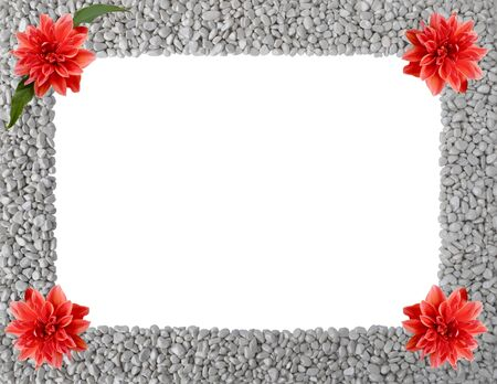 Natural isolated frame of grey pebbles with orange flowers of Royal Dahlia in corners,one with green leaves,copy space