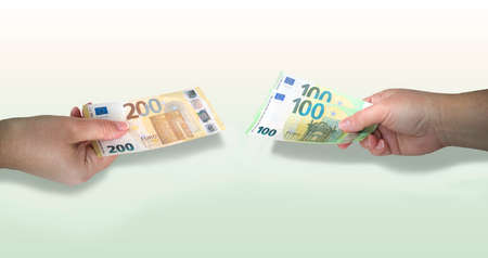 2 hands holding out 200 Euro and two 100 Euro bills.Concept of equivalent money or currency exchange,free loan.Banner