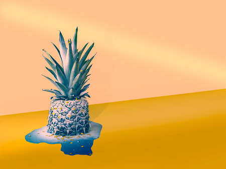 Funny stylish half-melted pineapple covered with snow and holiday stars, standing in its blue puddle on pink-gold diagonal background.Concept of waiting for festive dinner on Christmas, New Year's eve.