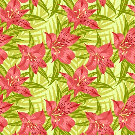 Seamless pattern with yellow flowers (alstroemeria) Vector