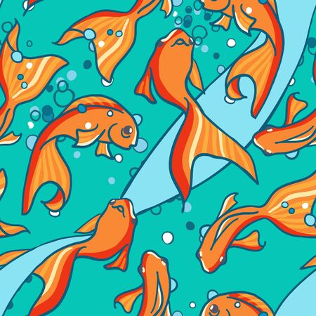 Seamless pattern of gold fishes in water. Maritime background Stock Vector - 17360704