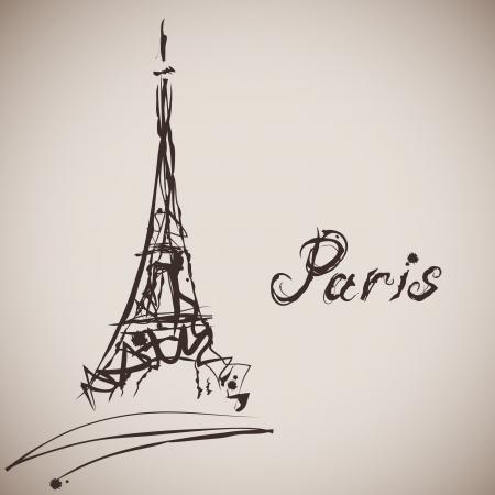 Elegancia grunge salpicaduras ilustración de la torre Eiffel y la caligrafía