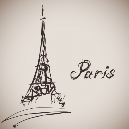 famous painting: Grunge elegance ink splash illustration of Eiffel tower and calligraphy