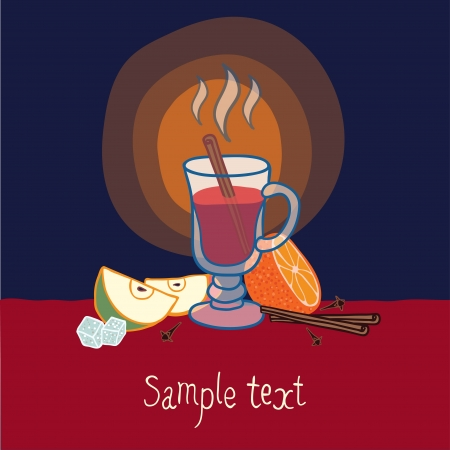 Illustration with a glass of mulled wine, cinnamon sticks, snowflakes, honey and fruit Illustration
