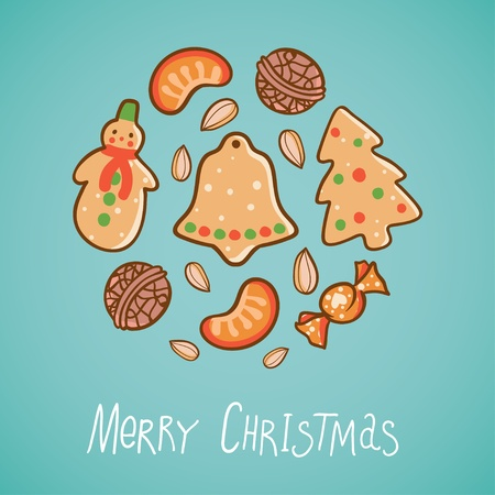 Illustration with Christmas food: cookies, nuts, fruits Vector