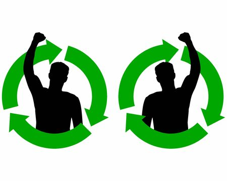 The struggle to preserve the environment. Eco activist. Silhouette of a man with a raised hand in the struggle to preserve the ecology inside the green symbol of ecology. Ecology symbol icon.