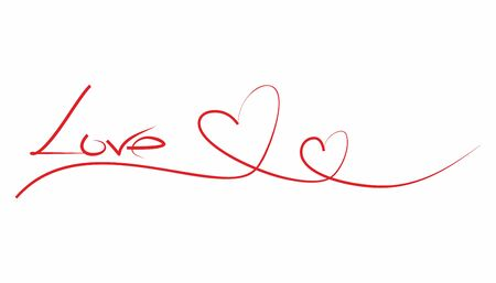 LOVE - red calligraphy inscription and two hearts in a line. Line drawing hearts with the inscription love. Vector for the design of cards for Valentine's day or wedding. Graphic illustration of love