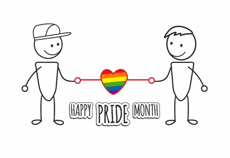 LGBT Rainbow heart between a homosexual couple of men. Happy pride month. Template for poster, banner. Vector illustration of same-sex love and freedom of choice. Smiling men who love each other.