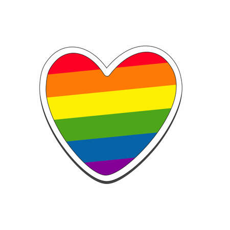 Rainbow heart. Sign of the LGBT community. Vector illustration of same-sex love, marriage and freedom of choice for homosexuals