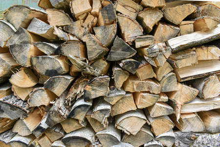 Stacked birch firewood. deforestation. photo of wood texture. raw materials for fireplaces and stoves. Country landscape. A pile of chopped birch firewood. Rustic lifestyle.