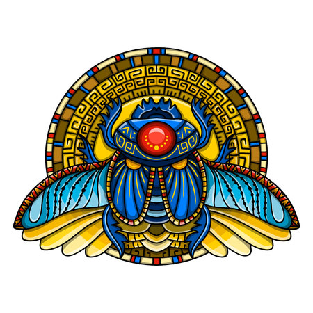 Egyptian scarab symbol of pharaoh, gods Ra, sun. Mythology t-shirt design, tattoos of ancient Egypt  イラスト・ベクター素材