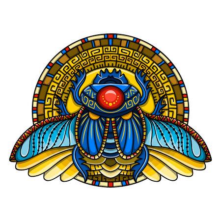 Símbolo del escarabajo egipcio del faraón, dioses Ra, sol. Diseño de camiseta de mitología, tatuajes del antiguo Egipto