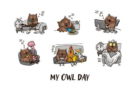 Owl and the day of the owl. Humorous comics about the life of an owl, day and night. Vector illustration Vectores