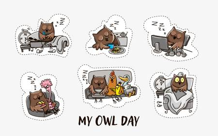 Owl and the day of the owl. Humorous comics about the life of an owl, day and night. Vector illustration Illustration
