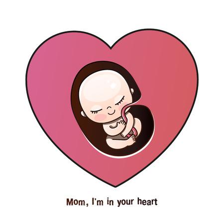 ein ungeborenes Kind, ein Embryo im Herzen der Mutter. Vektor-Illustration im Cartoon-Stil. Postkarte für Mama zum Muttertag, Geburtstagsgrüße, Glückwünsche zu einem Neugeborenen, Geschenk an eine schwangere Frau