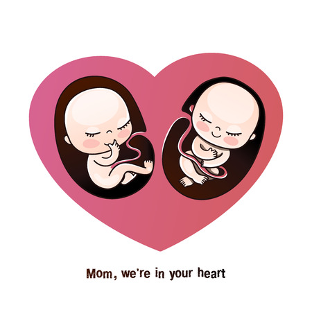 Twins or twins in the mother's womb. Unborn children are twins, in the mother's heart. Postcard for mom, birthday greetings, congratulations on a newborn, gift to a pregnant woman