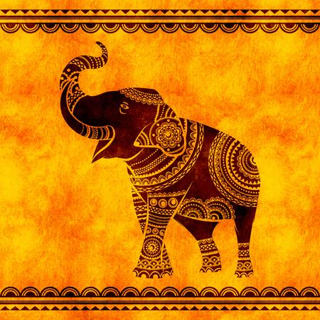 Indian elephant dances. Ideal ethnic background, tattoo, yoga, African, Indian,Thai, spirituality, boho design.