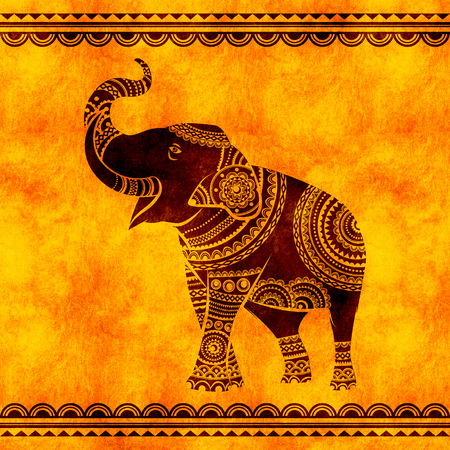 Indian elephant dances. Ideal ethnic background, tattoo, yoga, African, Indian,Thai, spirituality, boho design.