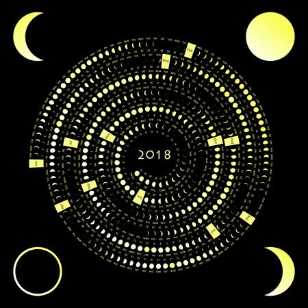 Lunar phase calendar on a dark background. Moon calendar 2018
