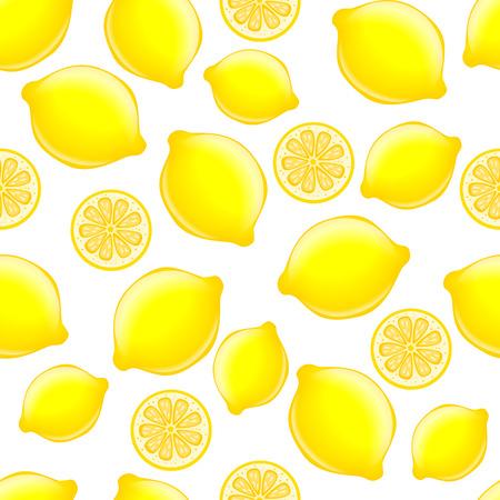 vector seamless citrus pattern on white background. Lemons are falling chaotically Vektoros illusztráció