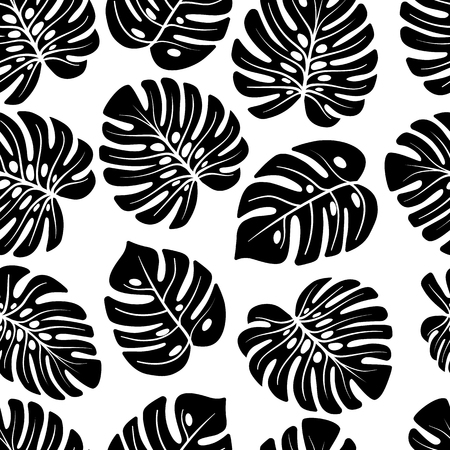 Leaves of palm, monstera. Jungle seamless pattern. Use on fake wallpapers, textiles, in the interior
