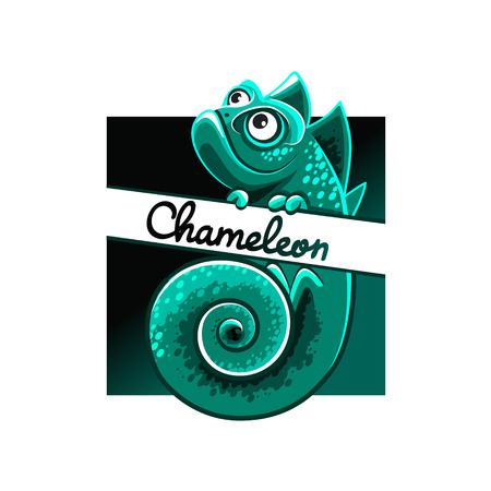 green chameleon illustration on white background.