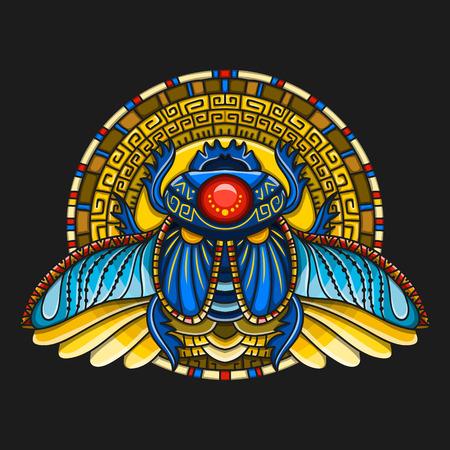 Egipski skarabeusz symbol faraona, bogów Ra, słońca. Projekt koszulki mitologia, tatuaże starożytnego Egiptu Ilustracje wektorowe