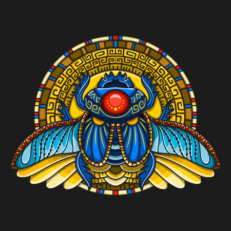Egyptian scarab symbol of pharaoh, gods Ra, sun. Mythology t-shirt design, tattoos of ancient Egypt Иллюстрация