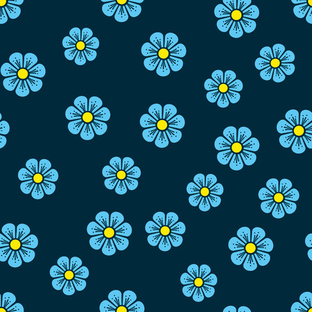 Flower pattern. Small blue flowers on a ink background. Use on wallpaper, fabric and textures