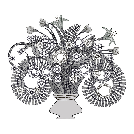 Vector plants, leaves, flowers in a vase. Vector still life. Doodle plants