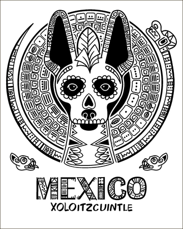Vector image of a dog in ethnic style. Mexican dog and Mexican skull Illustration
