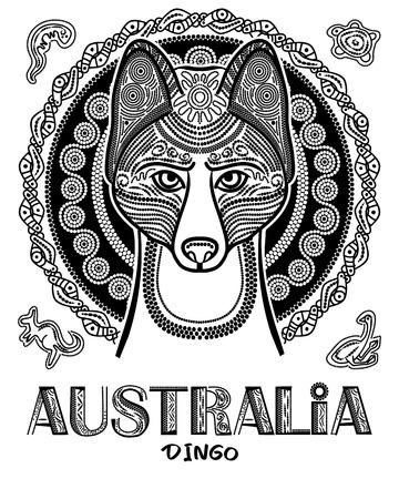 Vector image of dog dingo in ethnic style. Australian Aboriginal style