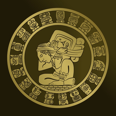 vector Mayan calendar image on the coin. Mexican culture, the Aztec civilization